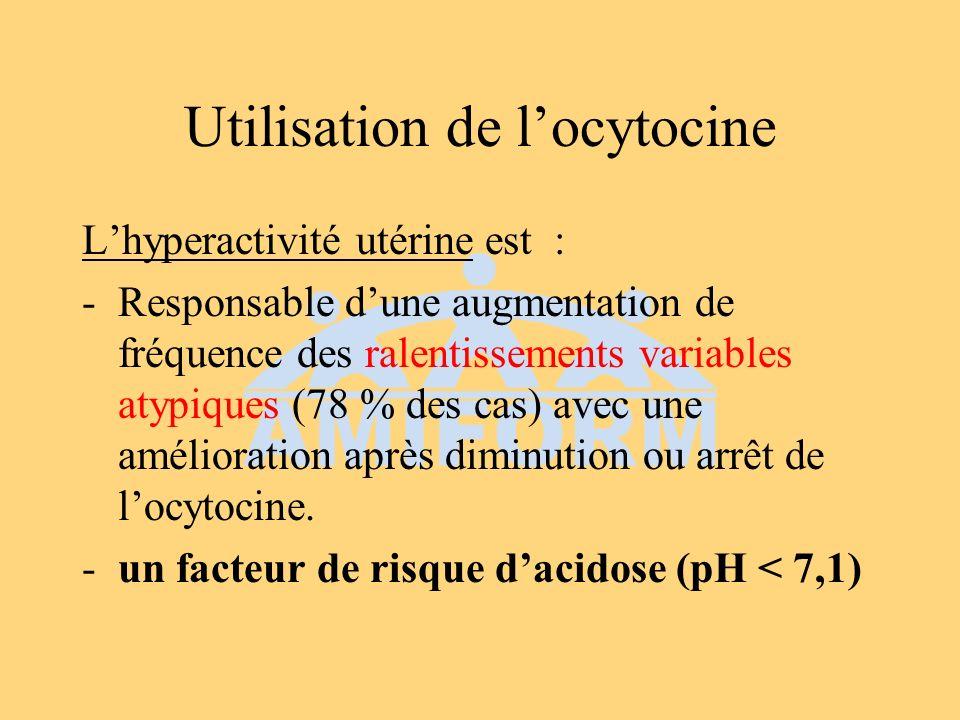 Bénéfices des tocolytiques Normalisation du RCF dans 70 % cas avec amélioration du pH (bétamimétiques contre placebo) (Grade B) Effets secondaires maternels : tachycardie et palpitations (bétamimétiques), hypotension (dérivés nitrés) (Grade B) Efficacité comparable (Grade A)