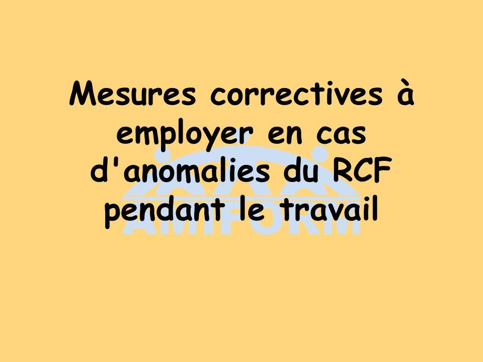 Mesures correctives à employer en cas d'anomalies du RCF pendant le travail