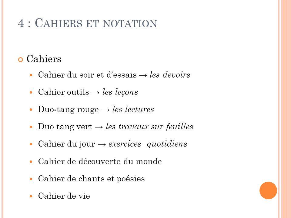 4 : C AHIERS ET NOTATION Cahiers Cahier du soir et dessais les devoirs Cahier outils les leçons Duo-tang rouge les lectures Duo tang vert les travaux
