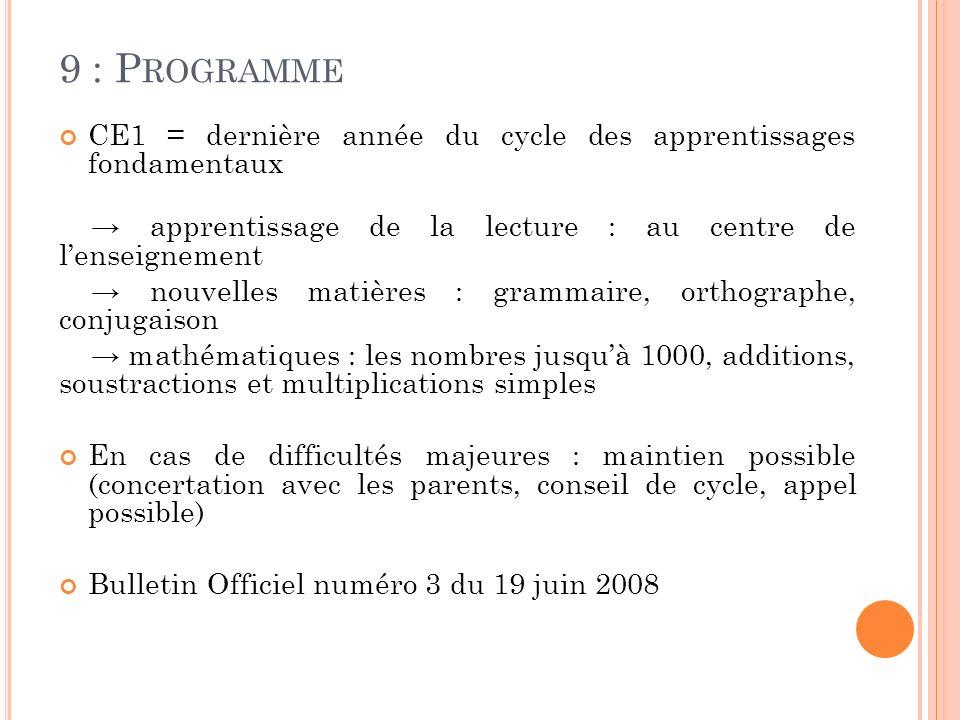 9 : P ROGRAMME CE1 = dernière année du cycle des apprentissages fondamentaux apprentissage de la lecture : au centre de lenseignement nouvelles matièr
