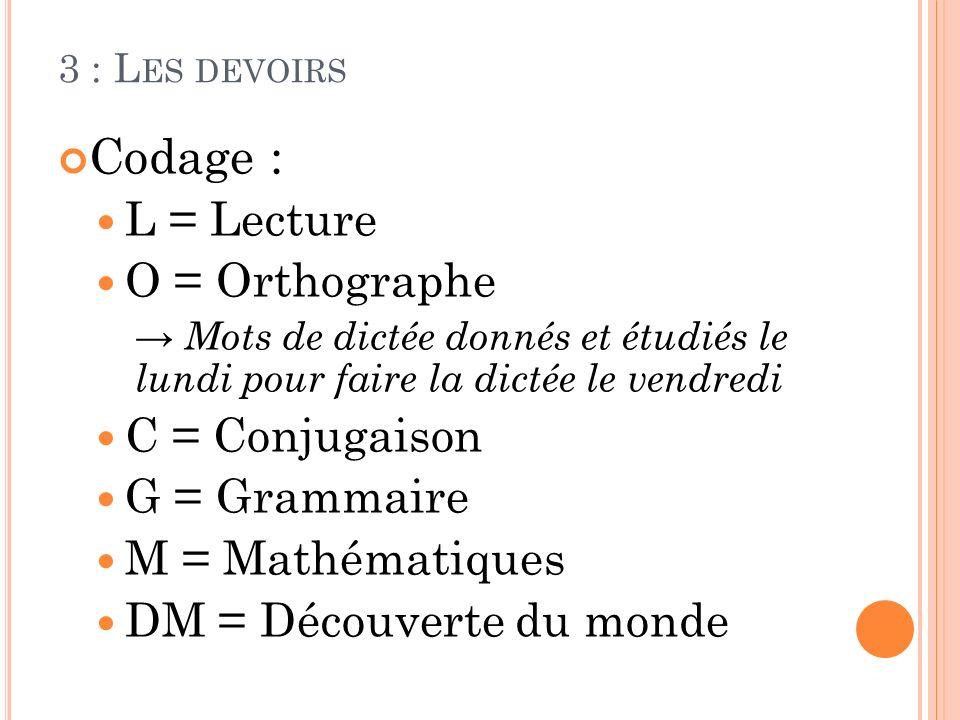 3 : L ES DEVOIRS Codage : L = Lecture O = Orthographe Mots de dictée donnés et étudiés le lundi pour faire la dictée le vendredi C = Conjugaison G = G