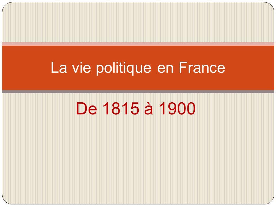 De 1815 à 1900 La vie politique en France