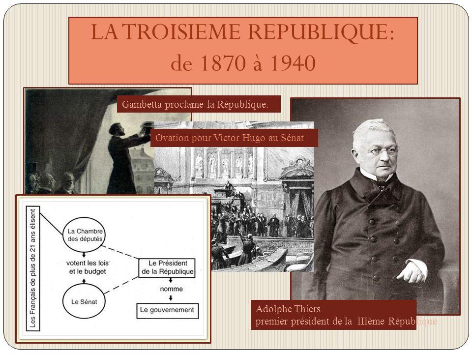 LA TROISIEME REPUBLIQUE: de 1870 à 1940 Adolphe Thiers premier président de la IIIème République Gambetta proclame la République.