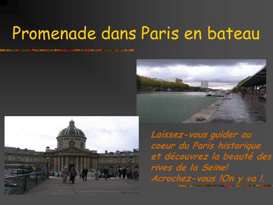 Promenade dans Paris en bateau Laissez-vous guider au coeur du Paris historique et découvrez la beauté des rives de la Seine.