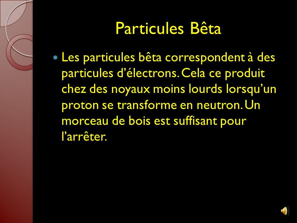 Particules Alpha Les particules alpha correspondent à des particules dhélium (même nombre de protons et de neutrons). Cela se produit dans les atomes