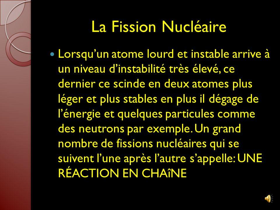 LÉnergie Nucléaire Lénergie nucléaire est produite à partir des réactions que subissent des noyaux atomiques. Il y a deux types de réactions nucléaire