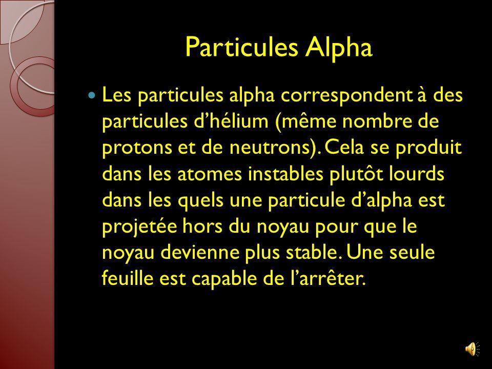 Radioactivité Les atomes instables sont des atomes radioactifs qui émettent des radiations et des particules comme par exemple: Les particules alpha,