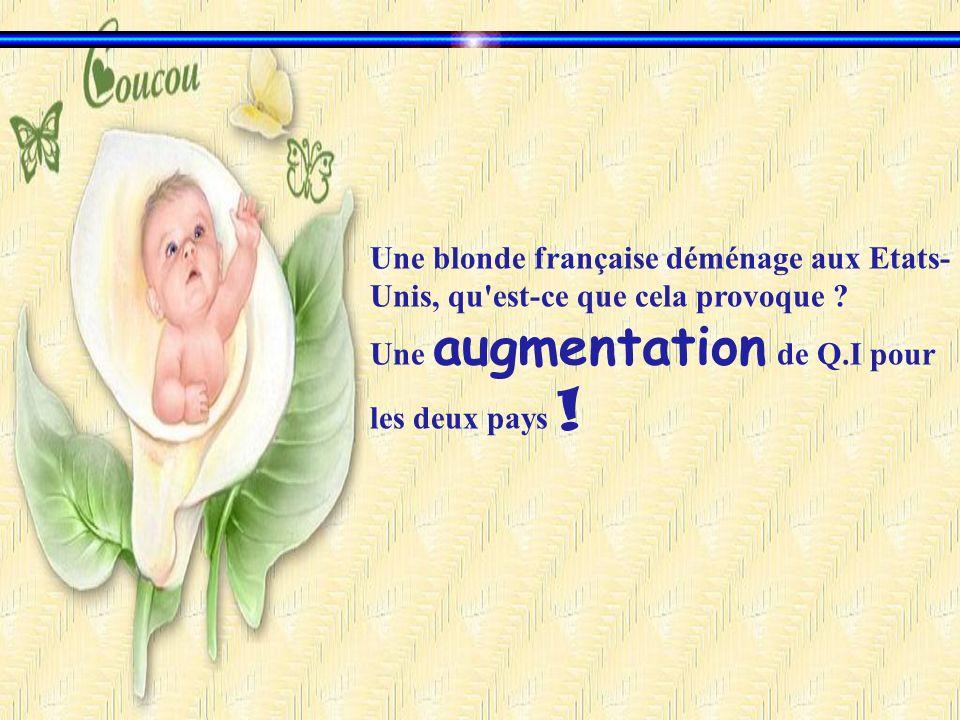 Une blonde française déménage aux Etats- Unis, qu'est-ce que cela provoque ? Une augmentation de Q.I pour les deux pays !