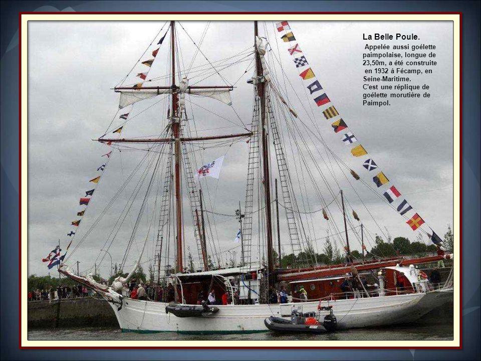Le Marité. Trois-mâts goélette, Long de 47 m. Il a été construit en 1921 à Fécamp en Seine-Maritime. c'est aujourd'hui le dernier terre-neuvier frança