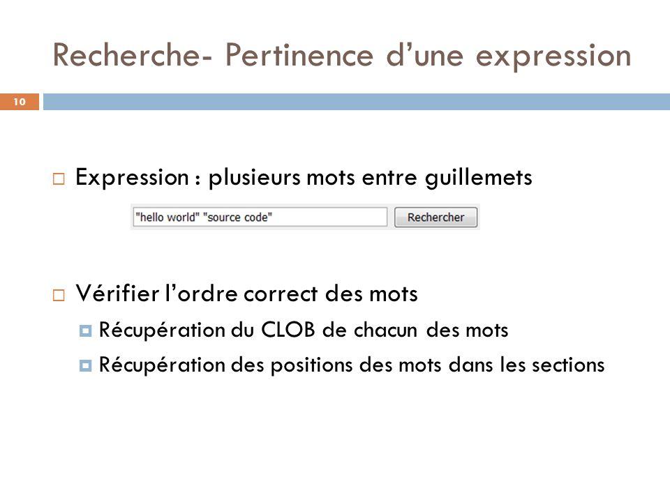 Recherche- Pertinence dune expression 10 Expression : plusieurs mots entre guillemets Vérifier lordre correct des mots Récupération du CLOB de chacun
