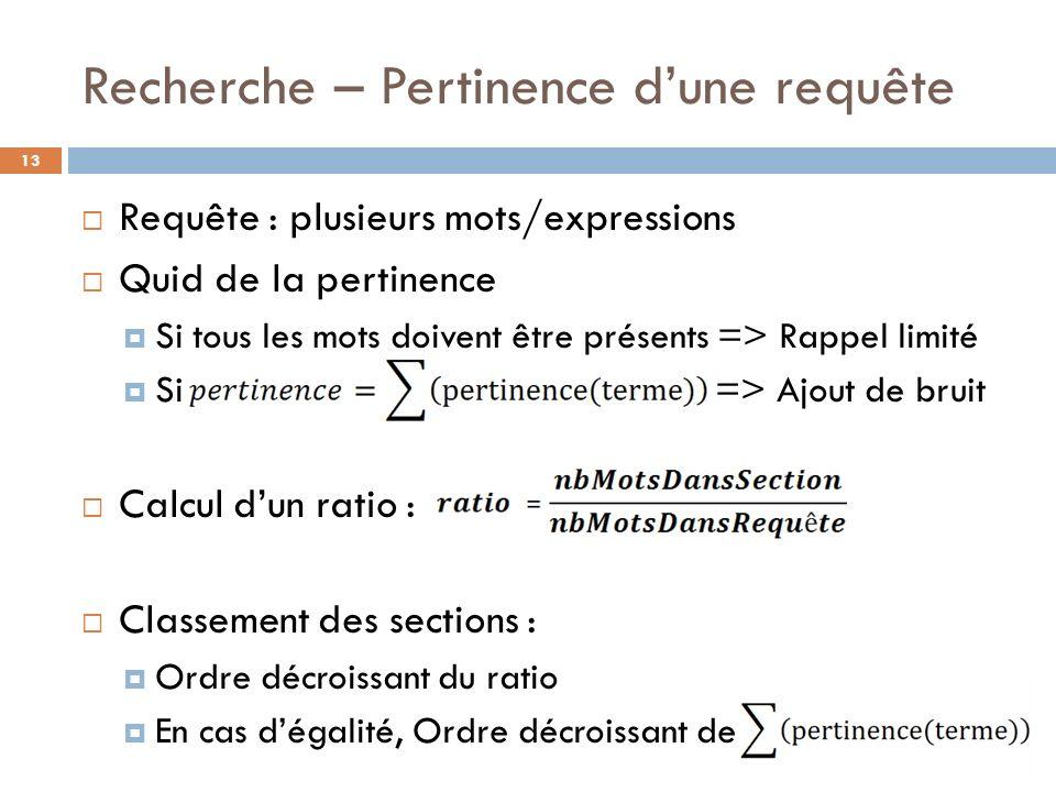Recherche – Pertinence dune requête 13 Requête : plusieurs mots/expressions Quid de la pertinence Si tous les mots doivent être présents => Rappel lim