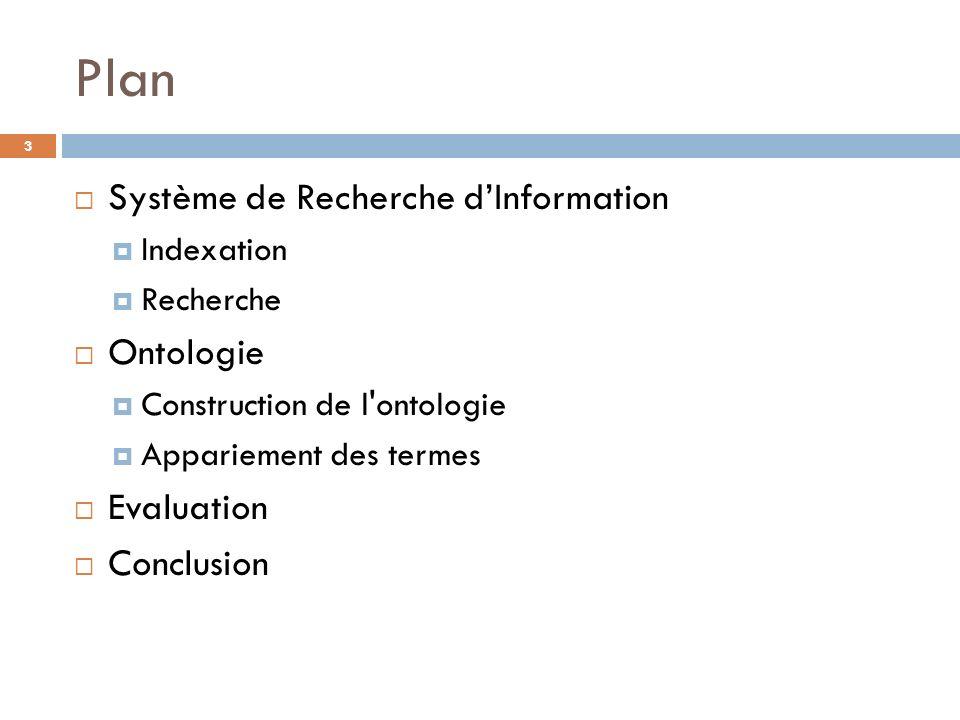 Plan Système de Recherche dInformation Indexation Recherche Ontologie Construction de l'ontologie Appariement des termes Evaluation Conclusion 3