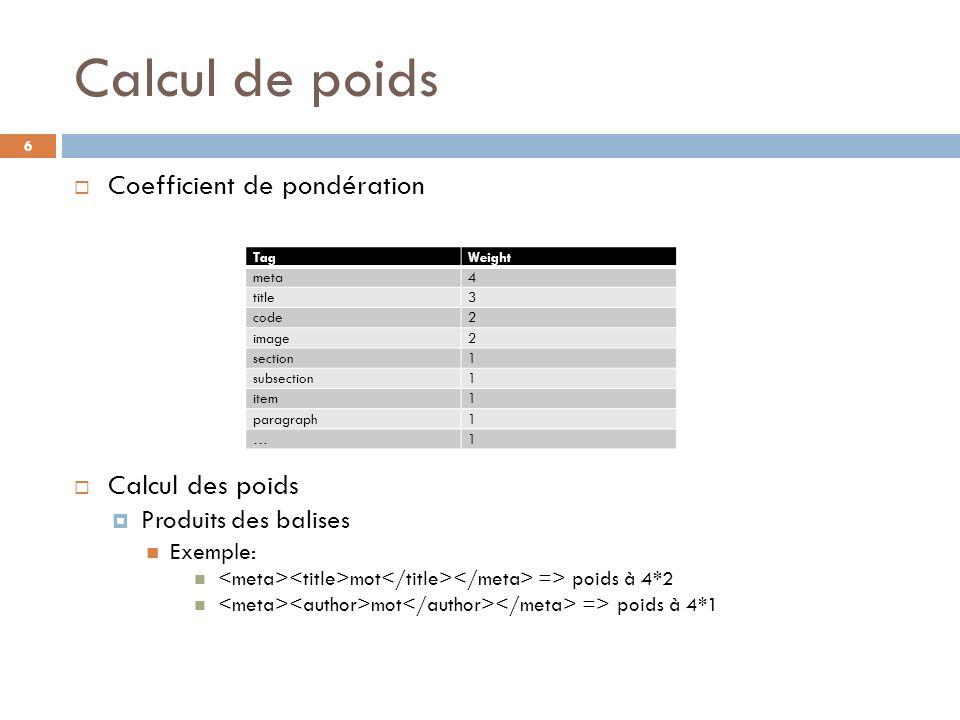 Calcul de poids Coefficient de pondération Calcul des poids Produits des balises Exemple: mot => poids à 4*2 mot => poids à 4*1 TagWeight meta4 title3