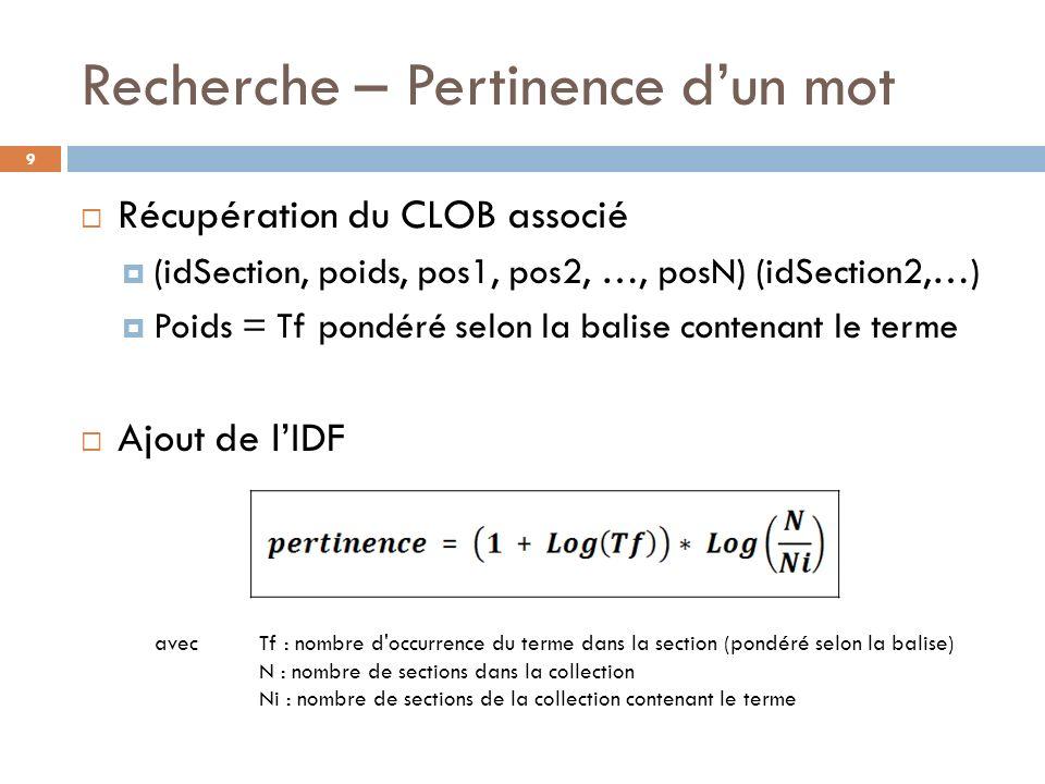 Recherche – Pertinence dun mot 9 Récupération du CLOB associé (idSection, poids, pos1, pos2, …, posN) (idSection2,…) Poids = Tf pondéré selon la balis