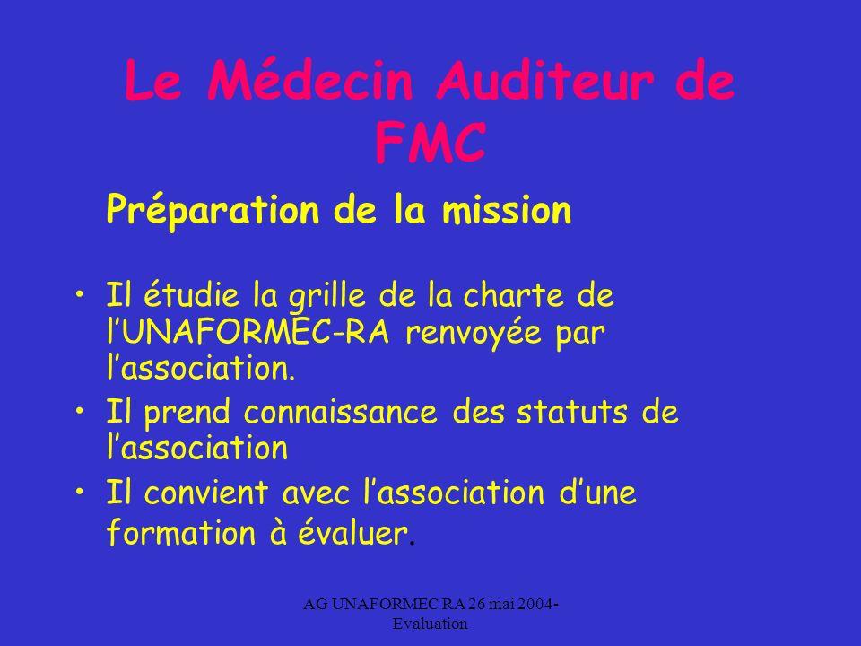 AG UNAFORMEC RA 26 mai 2004- Evaluation Le Médecin Auditeur de FMC Préparation de la mission Il étudie la grille de la charte de lUNAFORMEC-RA renvoyée par lassociation.