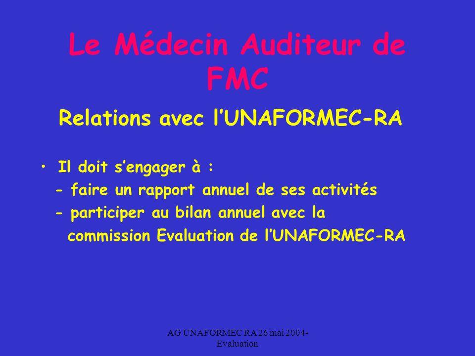 AG UNAFORMEC RA 26 mai 2004- Evaluation Le Médecin Auditeur de FMC Relations avec lUNAFORMEC-RA Il doit sengager à : - faire un rapport annuel de ses activités - participer au bilan annuel avec la commission Evaluation de lUNAFORMEC-RA