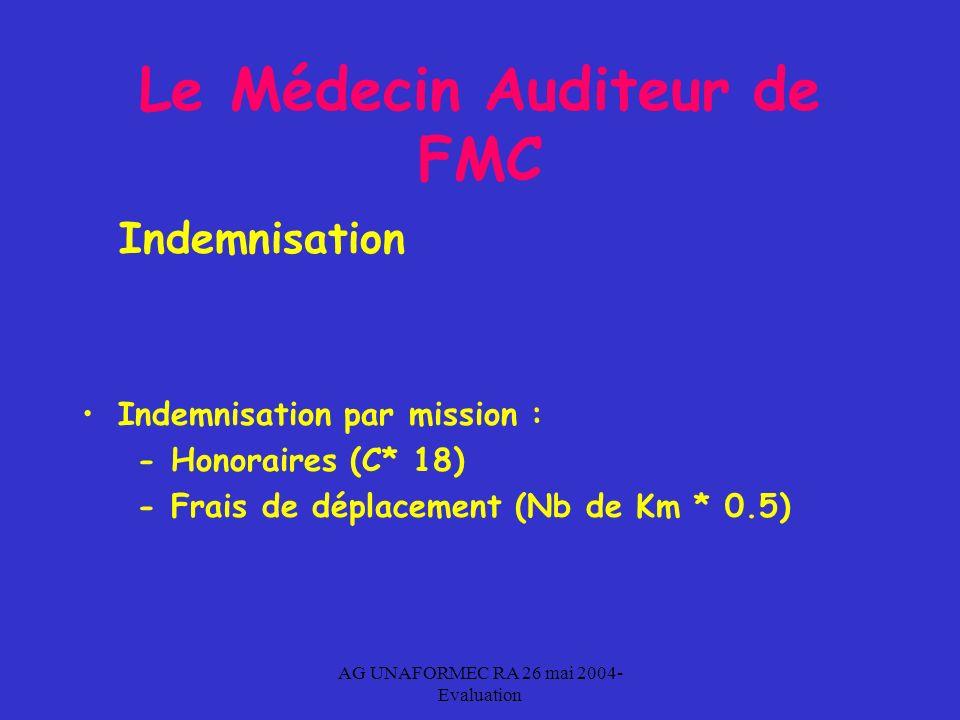 AG UNAFORMEC RA 26 mai 2004- Evaluation Le Médecin Auditeur de FMC Indemnisation Indemnisation par mission : - Honoraires (C* 18) - Frais de déplacement (Nb de Km * 0.5)