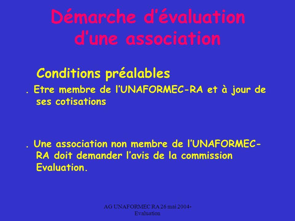 AG UNAFORMEC RA 26 mai 2004- Evaluation Démarche dévaluation dune association Conditions préalables.