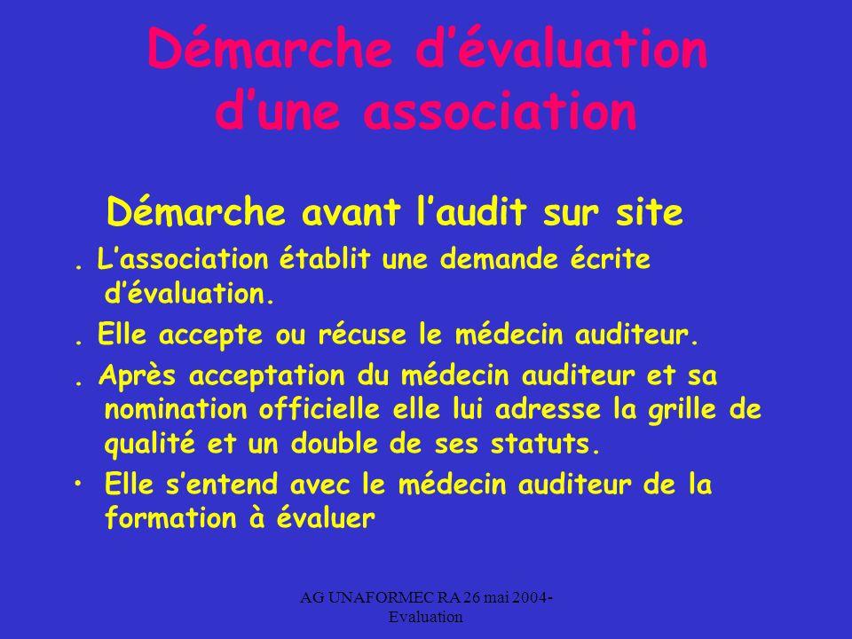 AG UNAFORMEC RA 26 mai 2004- Evaluation Démarche dévaluation dune association Démarche avant laudit sur site.