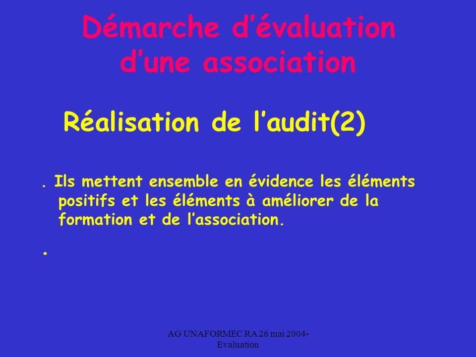 AG UNAFORMEC RA 26 mai 2004- Evaluation Démarche dévaluation dune association Réalisation de laudit(2).