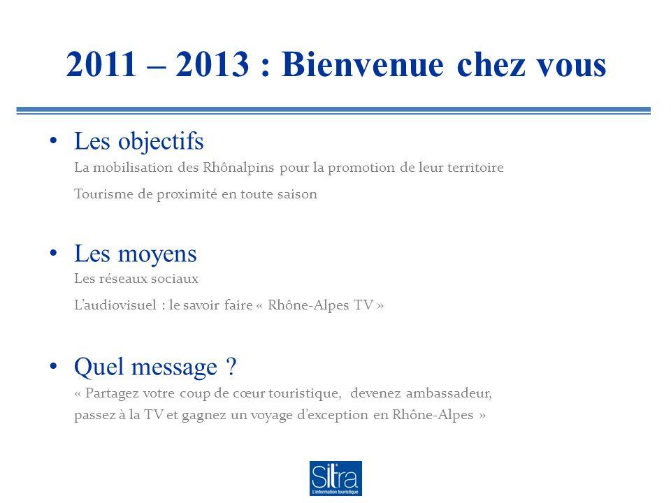 2011 – 2013 : Bienvenue chez vous Les objectifs Les moyens Quel message .