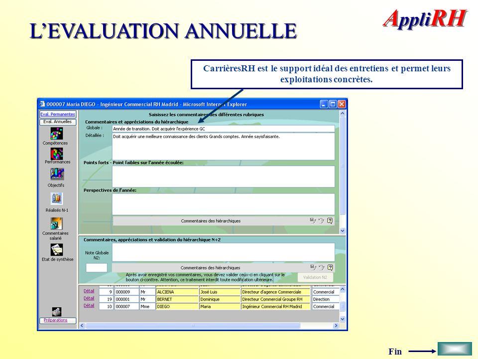 Fin LEVALUATION ANNUELLE CarrièresRH est le support idéal des entretiens et permet leurs exploitations concrètes.