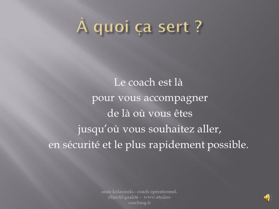 Un coach est formé à différentes techniques qui lui permettent de vous aider à fixer votre objectif et de trouver en vous les moyens de latteindre. an