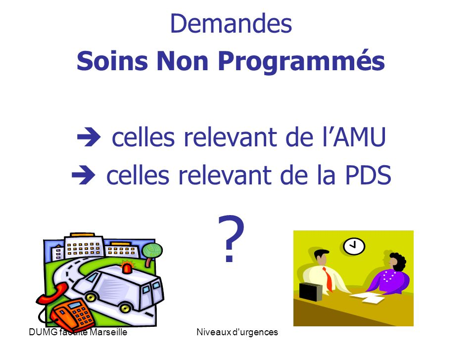 DUMG faculte MarseilleNiveaux d'urgences Demandes Soins Non Programmés celles relevant de lAMU celles relevant de la PDS ?