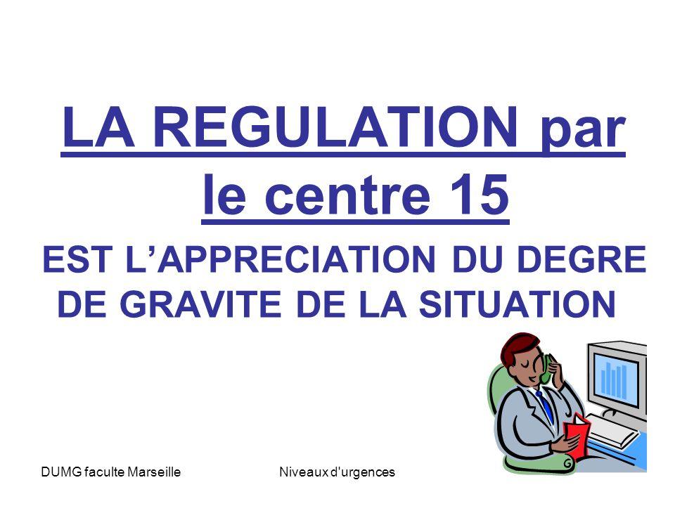 DUMG faculte MarseilleNiveaux d urgences 4 NIVEAUX de GRAVITE en Régulation C15 Aide Médicale Urgente = notion de délai adapté Permanence Des Soins = le délai ne constituant pas un facteur de risque