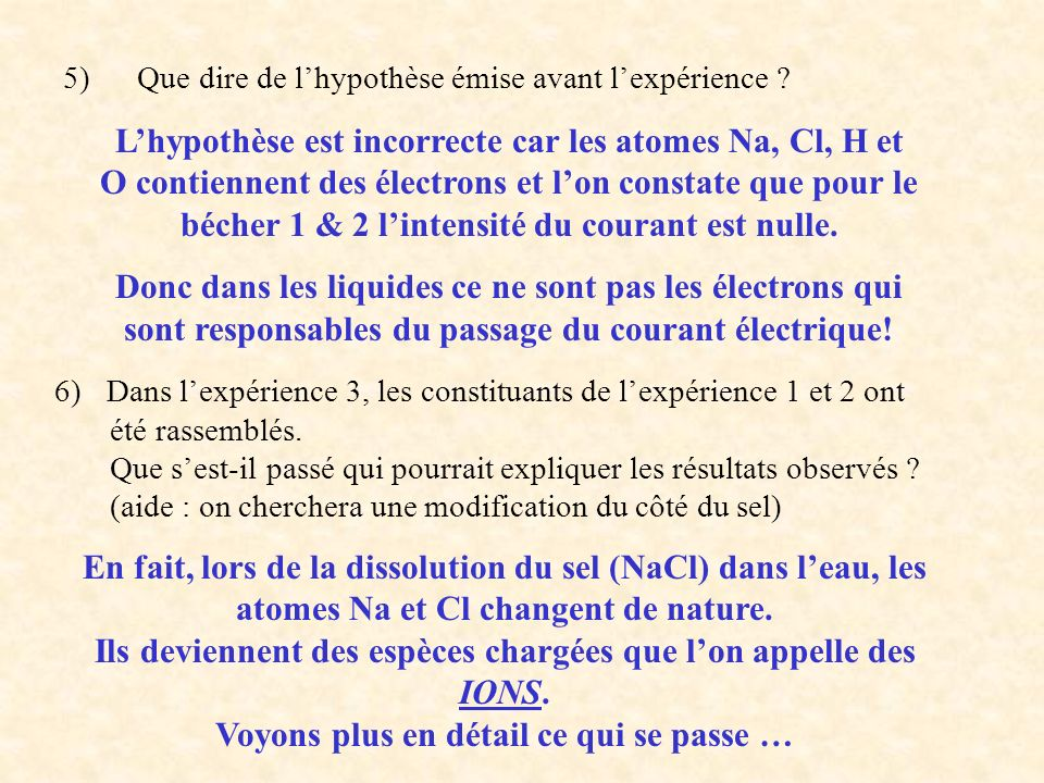 5) Que dire de lhypothèse émise avant lexpérience .