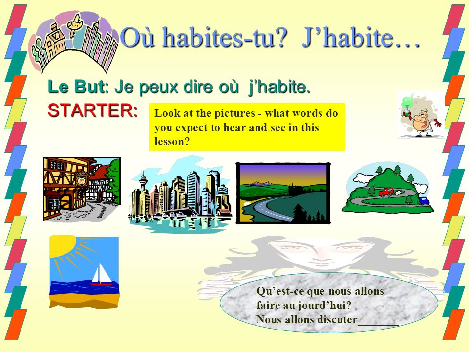 Où habites-tu? Jhabite… Le But: Je peux dire où jhabite. STARTER: Look at the pictures - what words do you expect to hear and see in this lesson? Ques