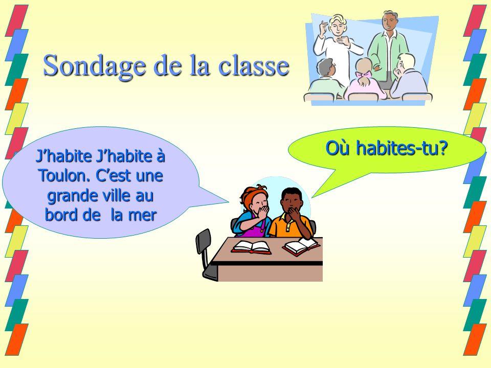 Sondage de la classe Où habites-tu. Jhabite Jhabite à Toulon.