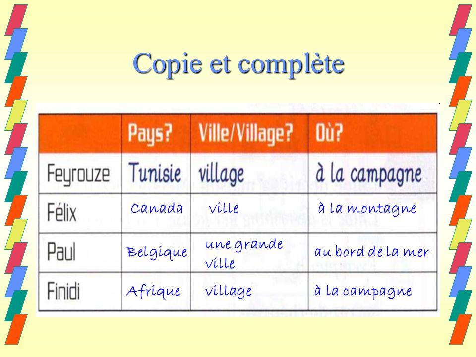Copie et complète Canadavilleà la montagne Belgique une grande ville au bord de la mer Afriquevillageà la campagne