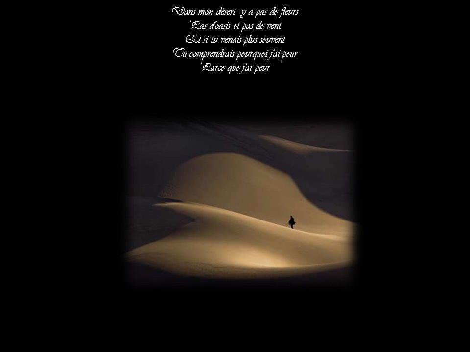 Dans mon désert y a pas de fleurs Pas d oasis et pas de vent Et si tu venais plus souvent Tu comprendrais pourquoi j ai peur Parce que j ai peur
