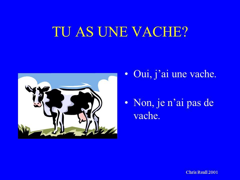 Chris Reall 2001 TU AS UNE VACHE? Oui, jai une vache. Non, je nai pas de vache.