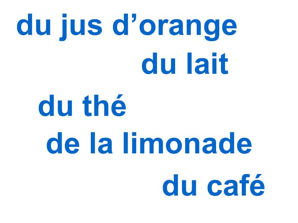 du jus dorange du lait du thé de la limonade du café