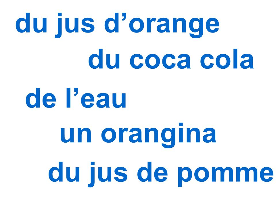 du jus dorange du coca cola de leau un orangina du jus de pomme