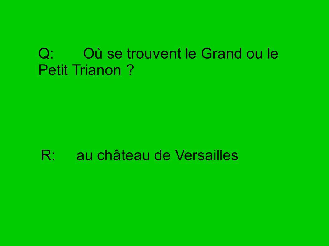 Q: Où se trouvent le Grand ou le Petit Trianon ? R: au château de Versailles