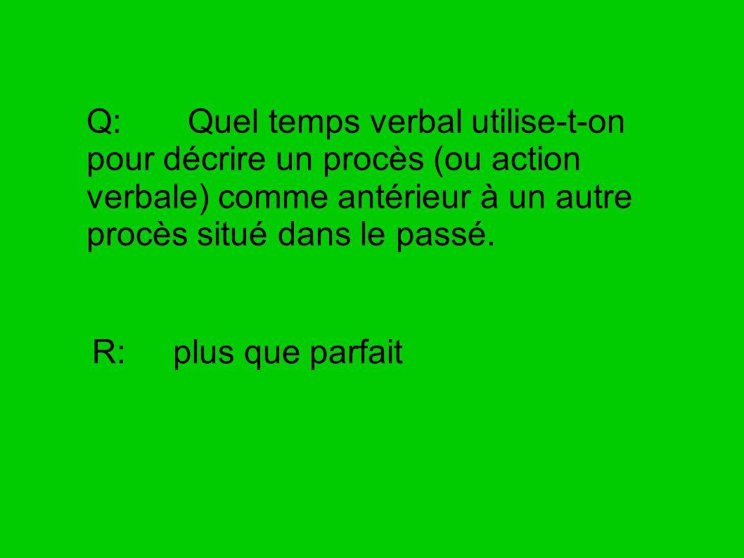 Q: Quel temps verbal utilise-t-on pour décrire un procès (ou action verbale) comme antérieur à un autre procès situé dans le passé. R: plus que parfai