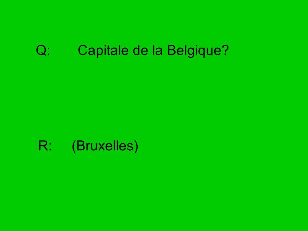 Q: Capitale de la Belgique? R: (Bruxelles)