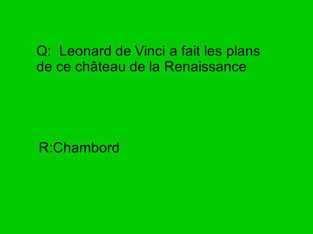 Q: Leonard de Vinci a fait les plans de ce château de la Renaissance R:Chambord
