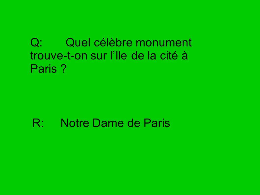 Q: Quel célèbre monument trouve-t-on sur lIle de la cité à Paris ? R: Notre Dame de Paris