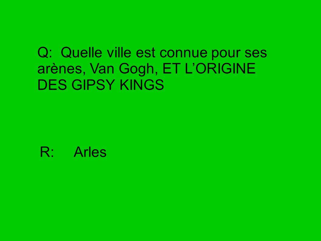 Q: Quelle ville est connue pour ses arènes, Van Gogh, ET LORIGINE DES GIPSY KINGS R: Arles