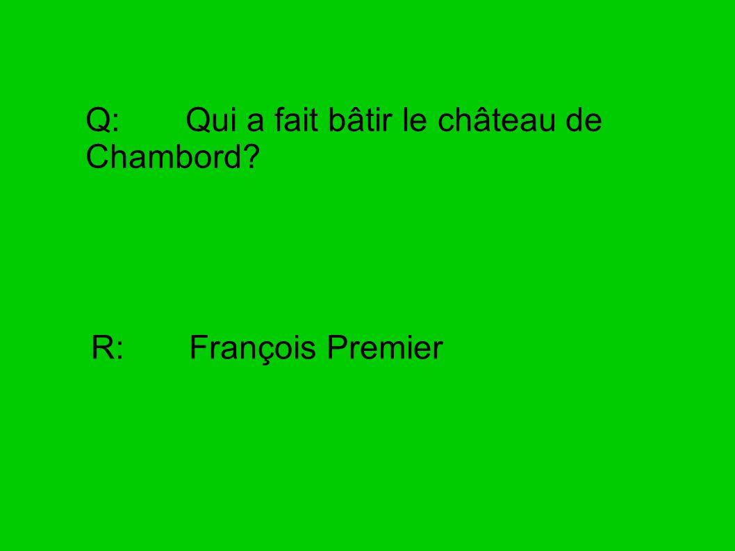 Q: Qui a fait bâtir le château de Chambord? R: François Premier
