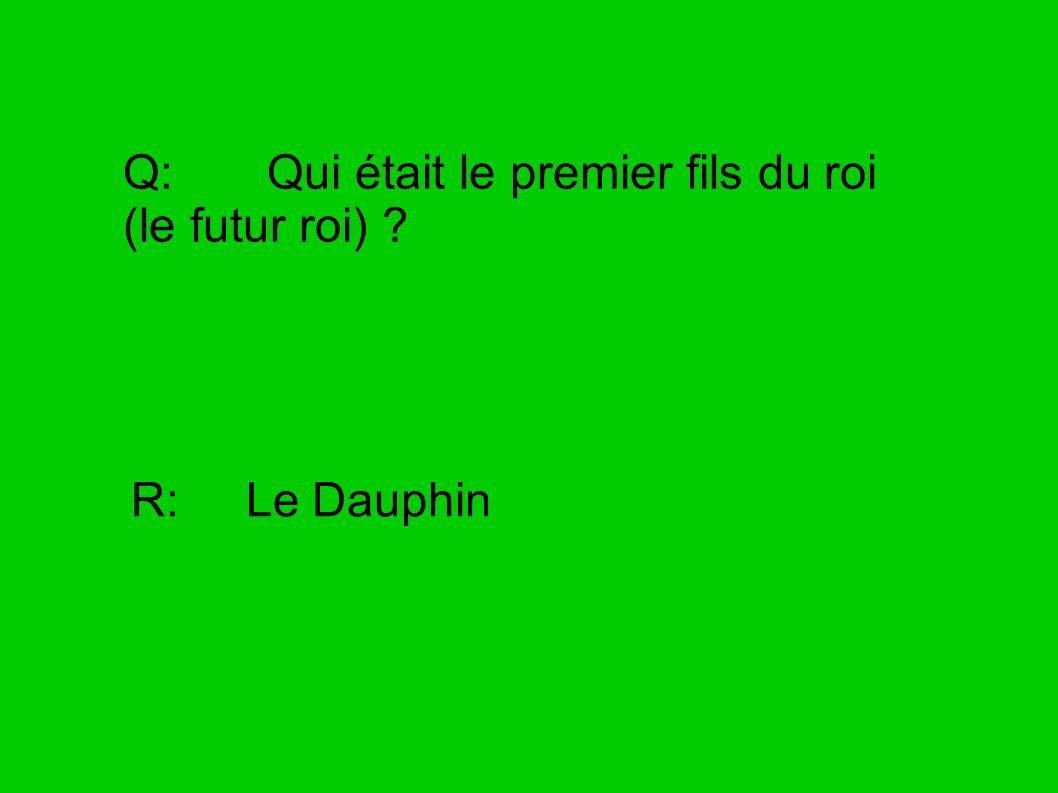 Q: Qui était le premier fils du roi (le futur roi) ? R: Le Dauphin