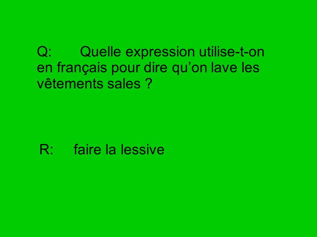 Q: Quelle expression utilise-t-on en français pour dire quon lave les vêtements sales ? R: faire la lessive