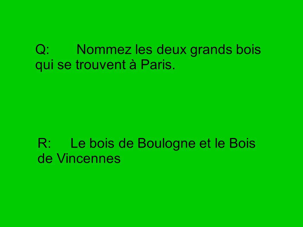Q: Nommez les deux grands bois qui se trouvent à Paris. R: Le bois de Boulogne et le Bois de Vincennes