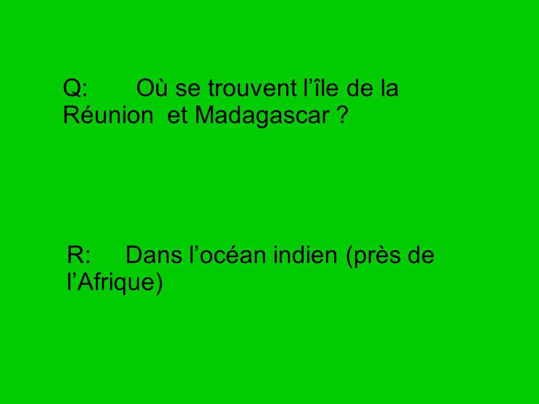 Q: Où se trouvent lîle de la Réunion et Madagascar ? R: Dans locéan indien (près de lAfrique)