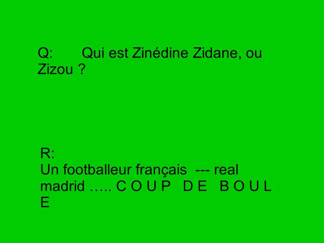 Q: Qui est Zinédine Zidane, ou Zizou ? R: Un footballeur français --- real madrid ….. C O U P D E B O U L E