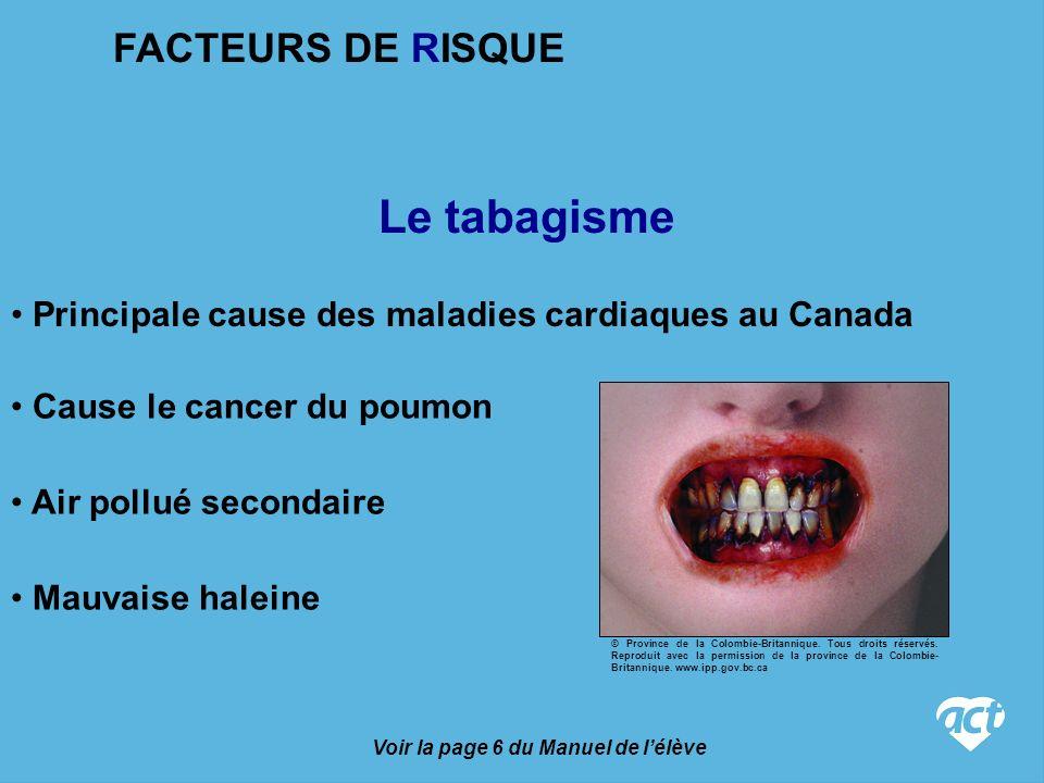 Voir la page 6 du Manuel de lélève Le tabagisme Cause le cancer du poumon Principale cause des maladies cardiaques au Canada Air pollué secondaire Mauvaise haleine FACTEURS DE RISQUE © Province de la Colombie-Britannique.